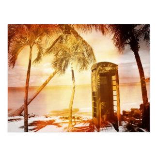 Cartão Postal Fulgor do amarelo da cabine de telefone do vintage