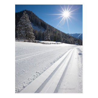 Cartão Postal funcionamento de esqui através dos campos