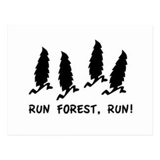 Cartão Postal Funcione o funcionamento da floresta!  humor 90s