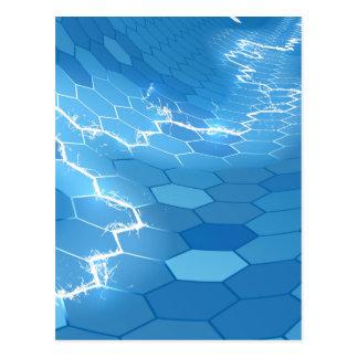 Cartão Postal Fundo azul elétrico do hexágono do favo de mel