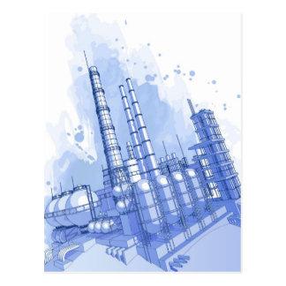 Cartão Postal Fundo da central química & da aguarela