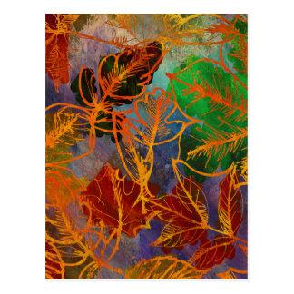 Cartão Postal Fundo das folhas de outono da arte em cores do