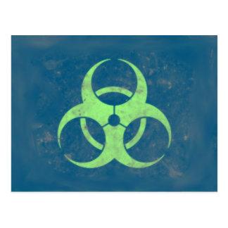 Cartão Postal Fundo do azul do verde limão do Biohazard