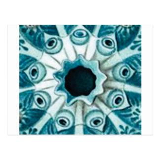 Cartão Postal furo e olhos azuis