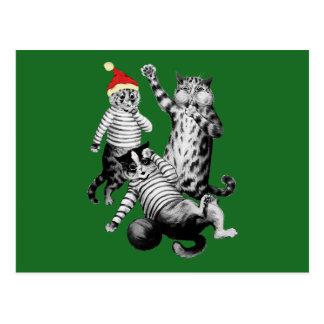Cartão Postal Futebol do Natal que joga gatos