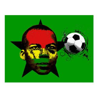 Cartão Postal Futebol preto África das estrelas de Ghana