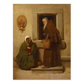 Cartão Postal Fyodor Bronnikov- a monge e o mendigo