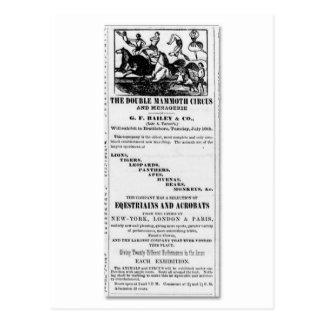 Cartão Postal G.F. Bailey & anúncio gigantesco dobro do circo do