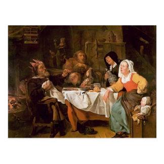 Cartão Postal Gabriel Metsu- o banquete do rei do feijão