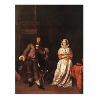 Cartão Postal Gabriel Metsu- o caçador e a senhora