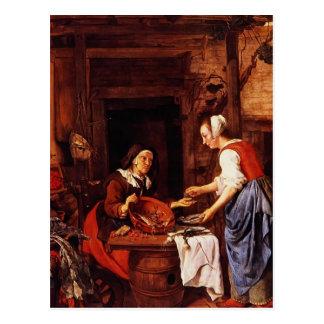 Cartão Postal Gabriel Metsu- uma mulher adulta que vende peixes