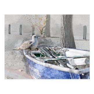 Cartão Postal Gaivota na aguarela do barco