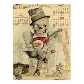 Cartão Postal Gajo DE ESQUELETO, gótico, banjo Jogador,