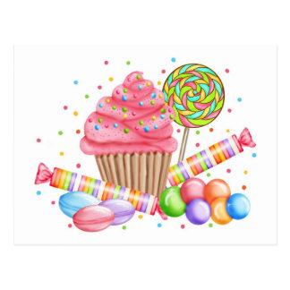 Cartão Postal Galdérias do doce do pirulito dos doces do cupcake