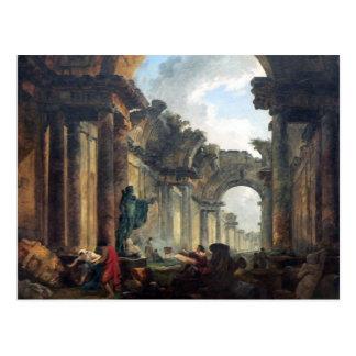 Cartão Postal Galeria grande do Louvre nas ruínas - 1796