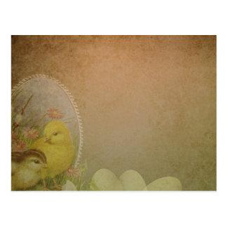 Cartão Postal Galinha rústica da páscoa do vintage