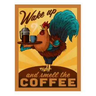 Cartão Postal Galo - acorde e cheire o café