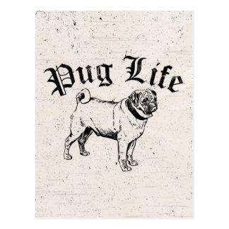 Cartão Postal Gângster engraçado do cão da vida do Pug