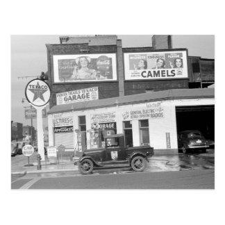 Cartão Postal Garagem & posto de gasolina, 1940