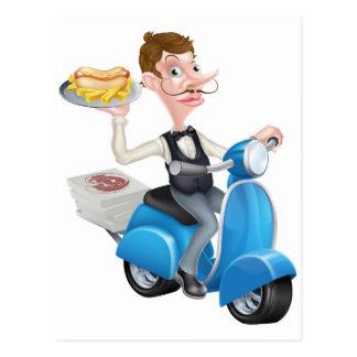 Cartão Postal Garçom dos desenhos animados no Moped do patinete