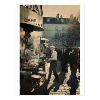 Cartão Postal garçom francês do café