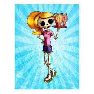 Cartão Postal Garçonete de esqueleto louro