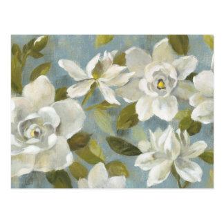 Cartão Postal Gardenias no azul da ardósia