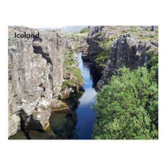 Cartão Postal Garganta de Flosagja em Þingvellir, Islândia