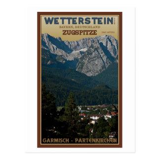 Cartão Postal Garmisch - Zugspitze acima da cidade