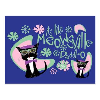 Cartão Postal Gatinho 2 do Beatnik do Pai-o de Meowsville