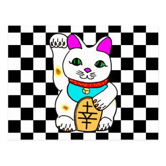 Cartão Postal Gatinho afortunado de Maneki Neko do gato