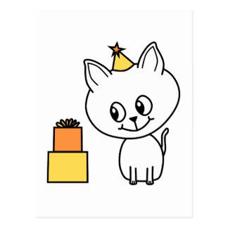 Cartão Postal Gatinho branco doce que veste um chapéu do