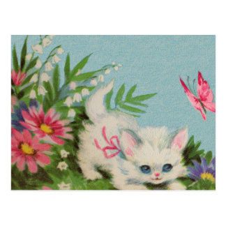 Cartão Postal Gatinho branco inchado