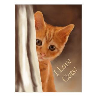Cartão Postal Gatinho macio do gengibre atrás da cortina