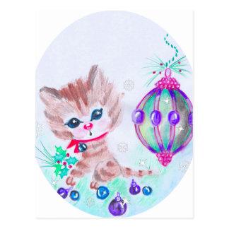 Cartão Postal Gatinho retro do Natal