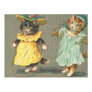 Cartão Postal gatinhos brincalhão do vintage