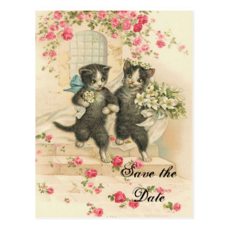 Cartão Postal Gatinhos do Victorian que Wedding economias a data