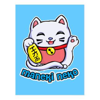 Cartão Postal Gato afortunado de Maneki Neko
