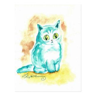 Cartão Postal Gato azul gordo bonito engraçado