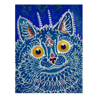 Cartão Postal Gato azul por Louis Wain