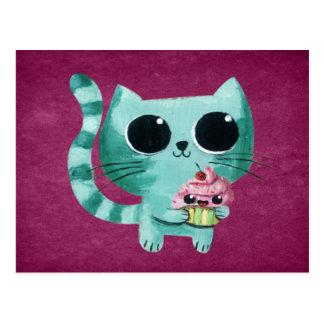 Cartão Postal Gato bonito do gatinho com cupcake de Kawaii