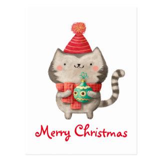 Cartão Postal Gato bonito do Natal