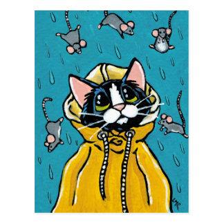 Cartão Postal Gato bonito do smoking e chover a ilustração dos
