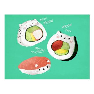 Cartão Postal Gato bonito do sushi