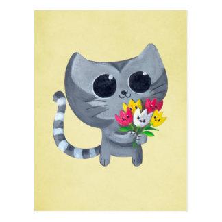 Cartão Postal Gato bonito e flores do gatinho