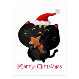 Cartão Postal Gato bonito preto do Natal