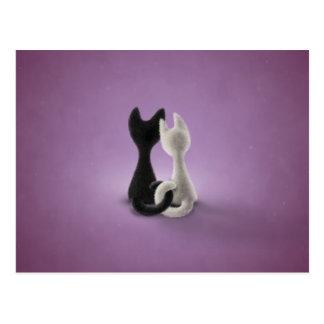 Cartão Postal Gato branco do gato preto (cor 4)