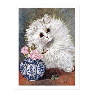 Cartão Postal Gato branco por Louis Wain