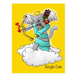 Cartão Postal Gato cinzento do Cupido de Smokey do dia dos