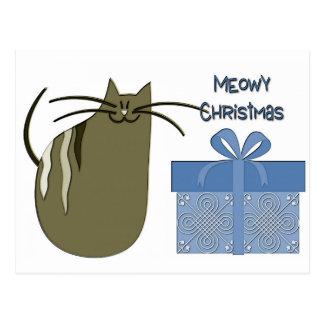 Cartão Postal Gato cinzento do Natal de Meowy com presente azul